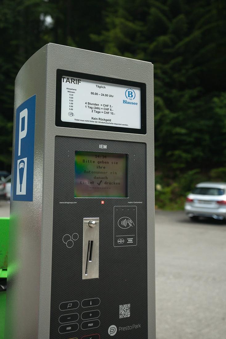 Parkgebühren, Blausee, Schweiz