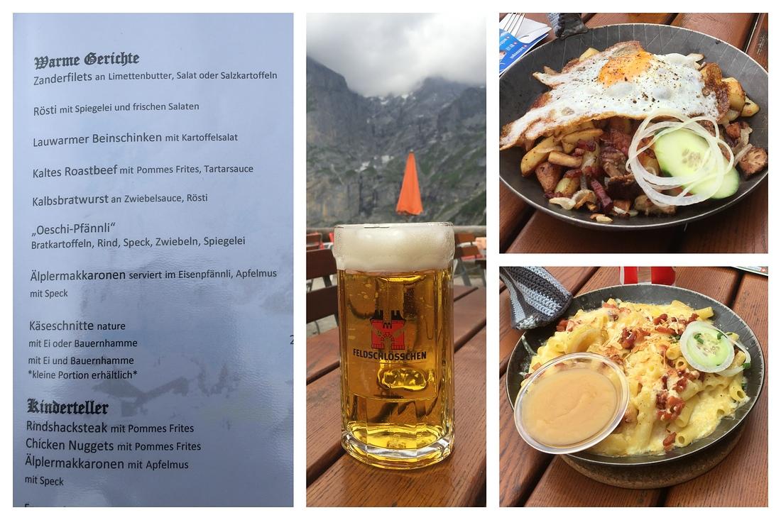 Essen Berggasthof, Oschinensee, Älplermakkronen, Oeschli-Pfännli