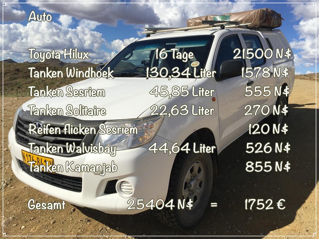 Kosten Mietauto Namibia