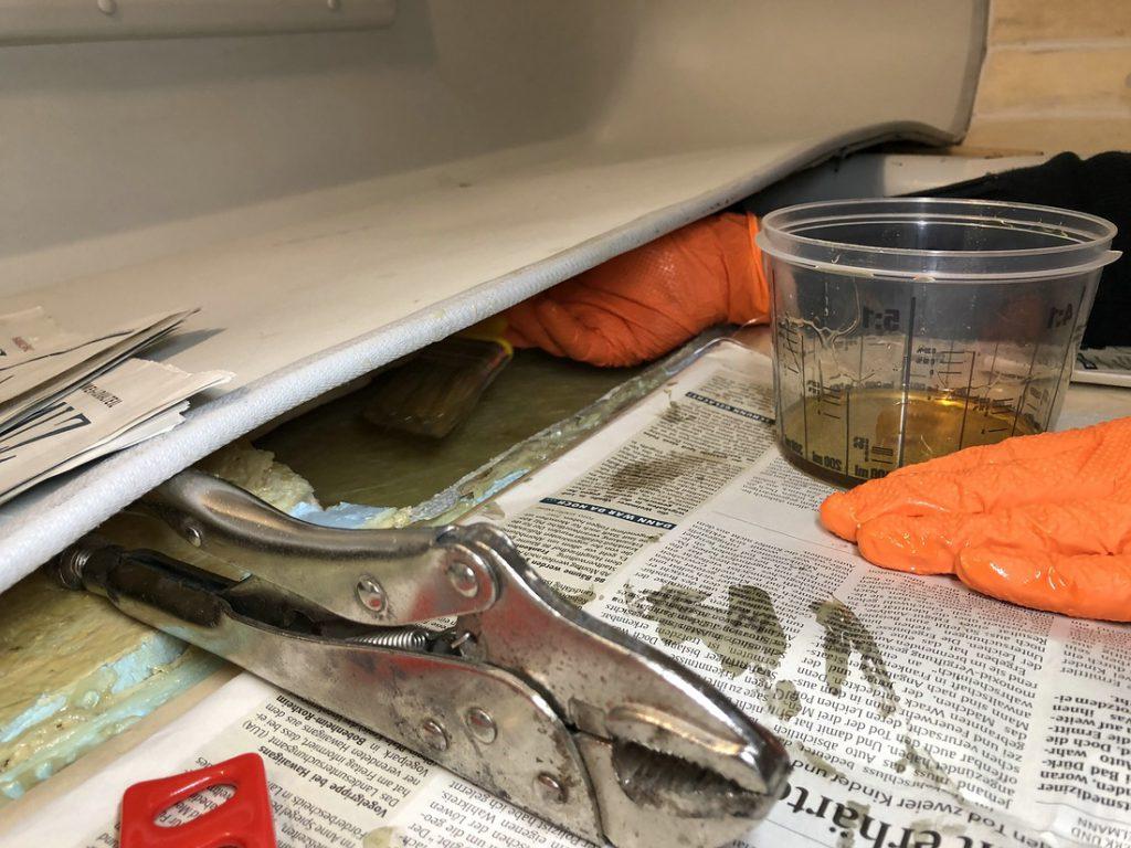 Alkoven laminieren, Tischer Wohnkabine 260S, Restaurierung, Reiseblog, Reiseberichte, Isuzu D-Max, Wasserschaden